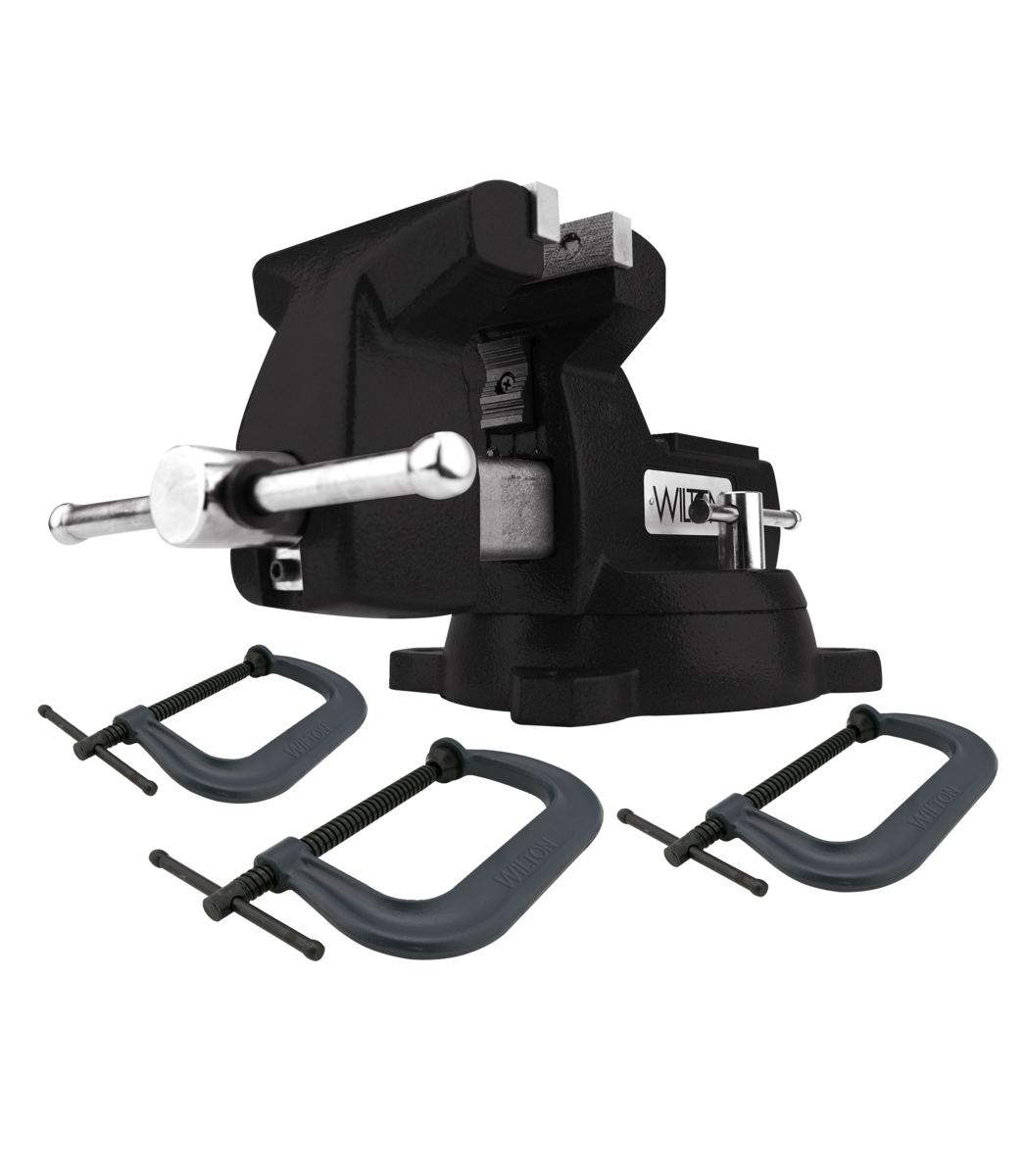 Manual: Holding Strong Kit, Black 746 Mechanics Vise and 3-pc 400 Series C-Clamp Set