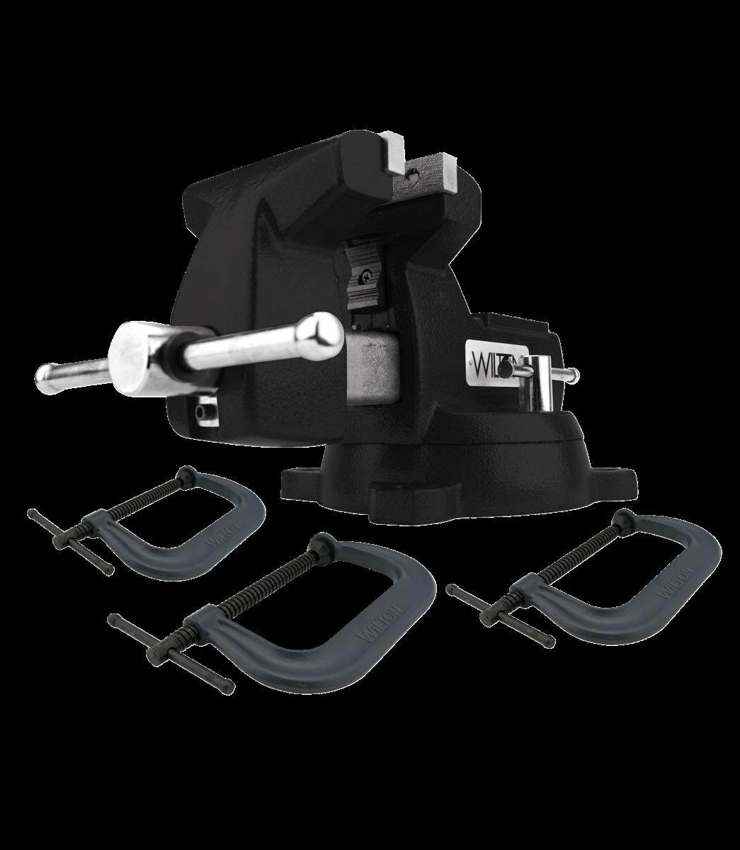 Manual: Holding Strong Kit, Black 746 Mechanics Vise and 3-pc 400 Series C-Clamp Set