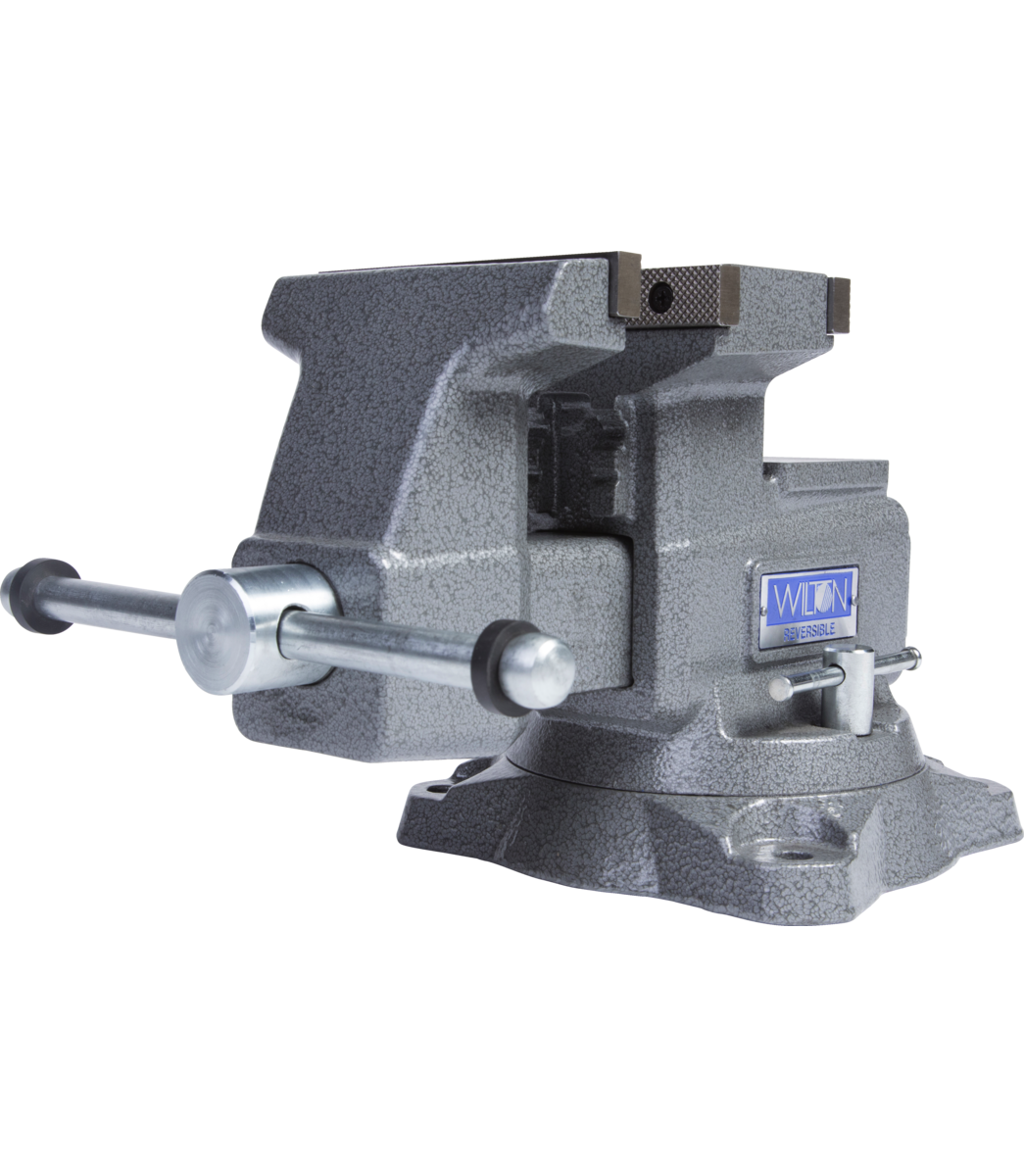 "Manual: Reversible Bench Vise 5-1/2"" Jaw Width with 360° Swivel Base"
