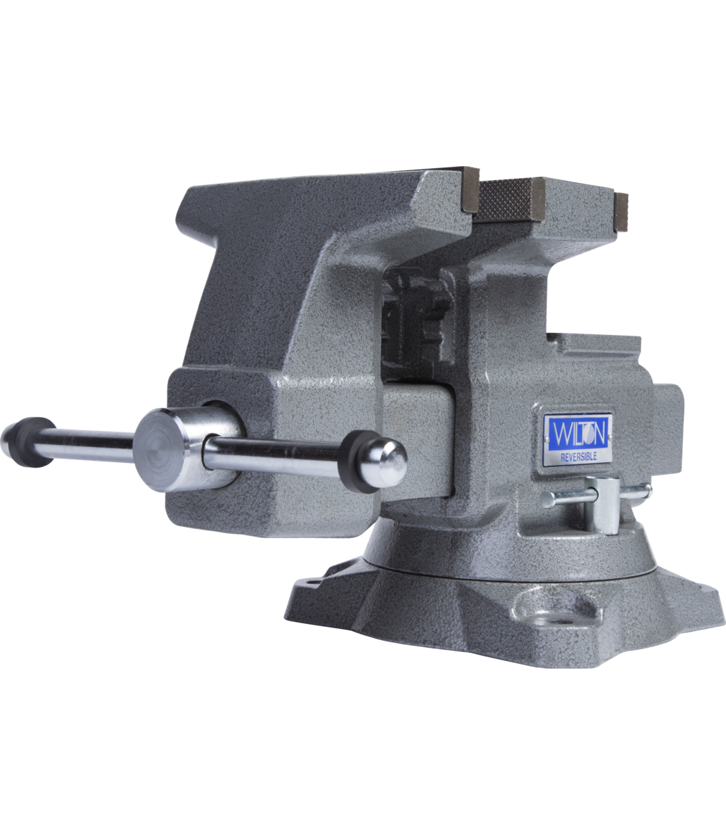 "Manual: Reversible Bench Vise 6-1/2"" Jaw Width with 360° Swivel Base"