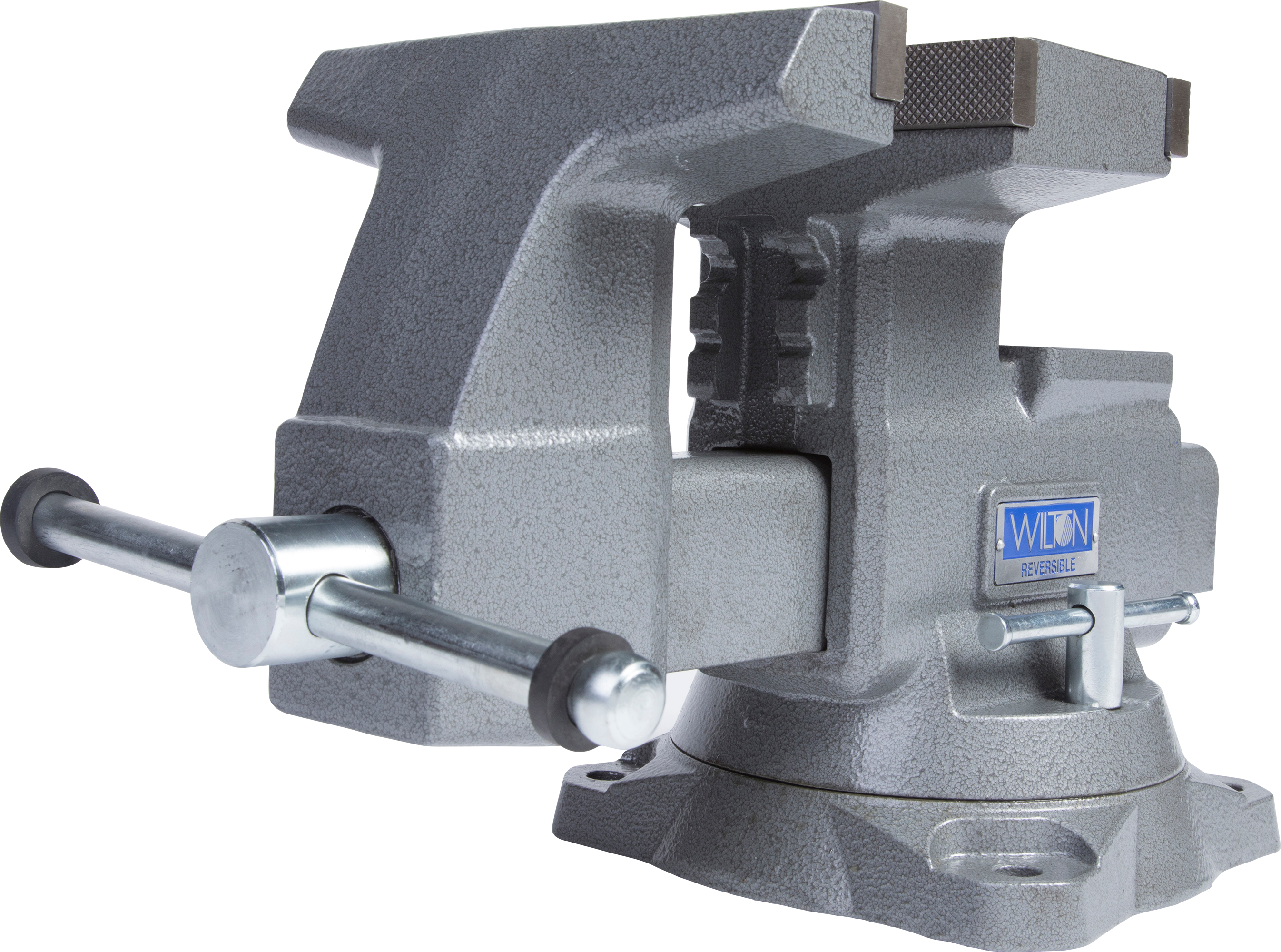"Manual: Reversible Bench Vise 8"" Jaw Width with 360° Swivel Base"